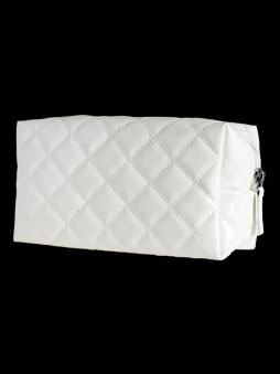 PATENT COSMETIC<BR>BAG (EMPTY) WHITE